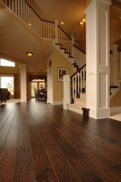 Beautiful handscraped engineered hardwood floors by JustLinnea