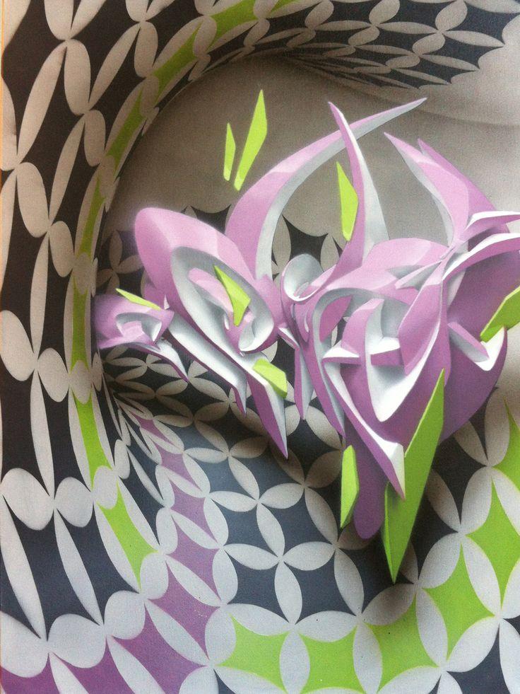 Peeta graffiti writing on canvas- Entangle - mixed medias on canvas - 23,6x31,5 inches / 80x60 cm