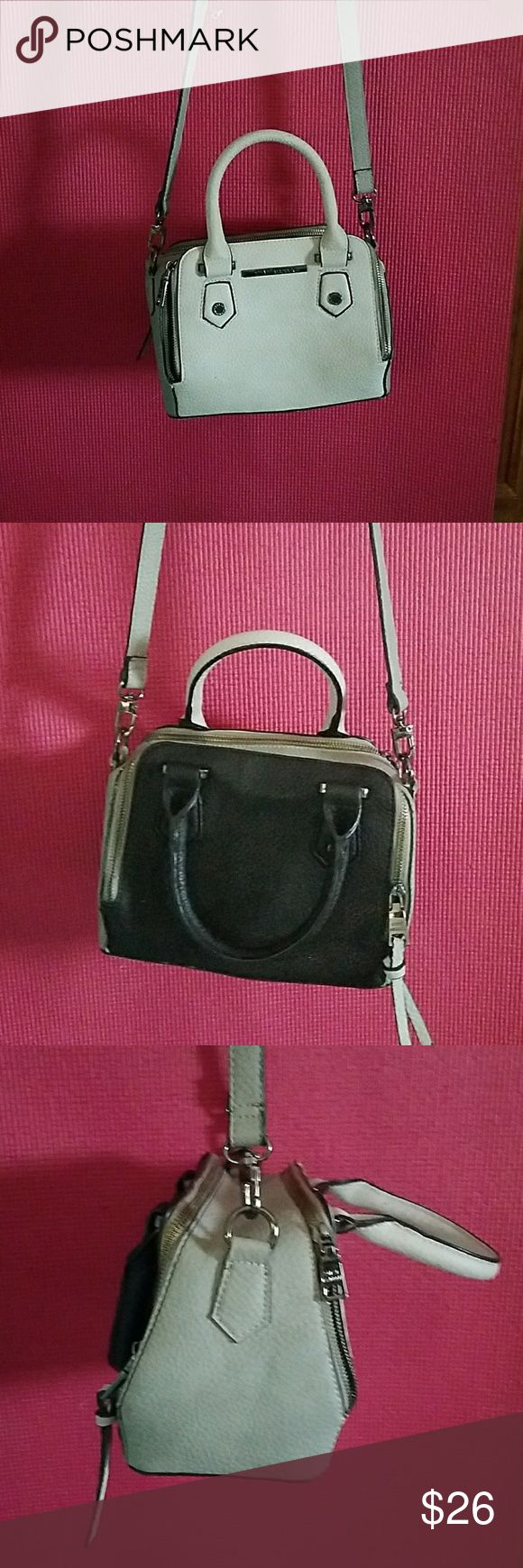 Steve Madden bag /Black &Grey shoulder bag. This two tone grey & black bag by Steve Madden is so adorable used a couple times.just a little to small come me but can fit quite a bit makeup brush, phone cash and cards small wallet Steve Madden Bags Shoulder Bags