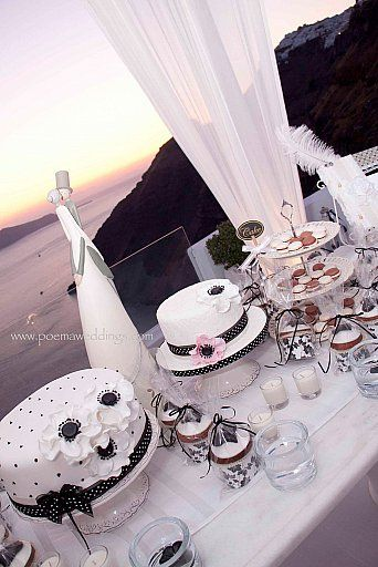 Black & White Santorini Wedding Cake by Petran Art Pastry Chef ! I Wedding Event Planner Poema Weddings & Special Events I Wedding Couple Deco by Wedding Wish I Catering Services by Spicy Bites I Photography by Eva Rentl I Wedding Venue Dana Villas