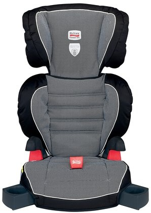 Britax parkway SGL in Cloudburst - doesn't seem to come in Cowmooflage.   Has clip to prevent submarining and latches to seat to stay in place,  but need to check how kid-friendly the clip is to operate.