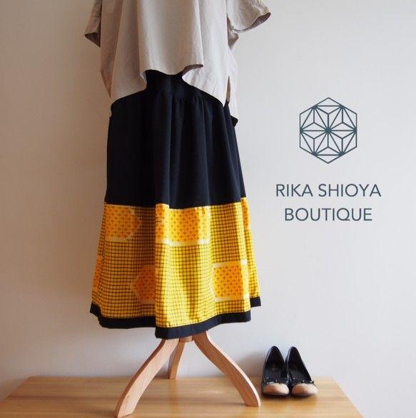 《受注製作》HAREGI SKIRT -ビンテージの銘仙の着物地を使ったフレアスカート [ロング]|スカート|RikaShioya|ハンドメイド通販・販売のCreema