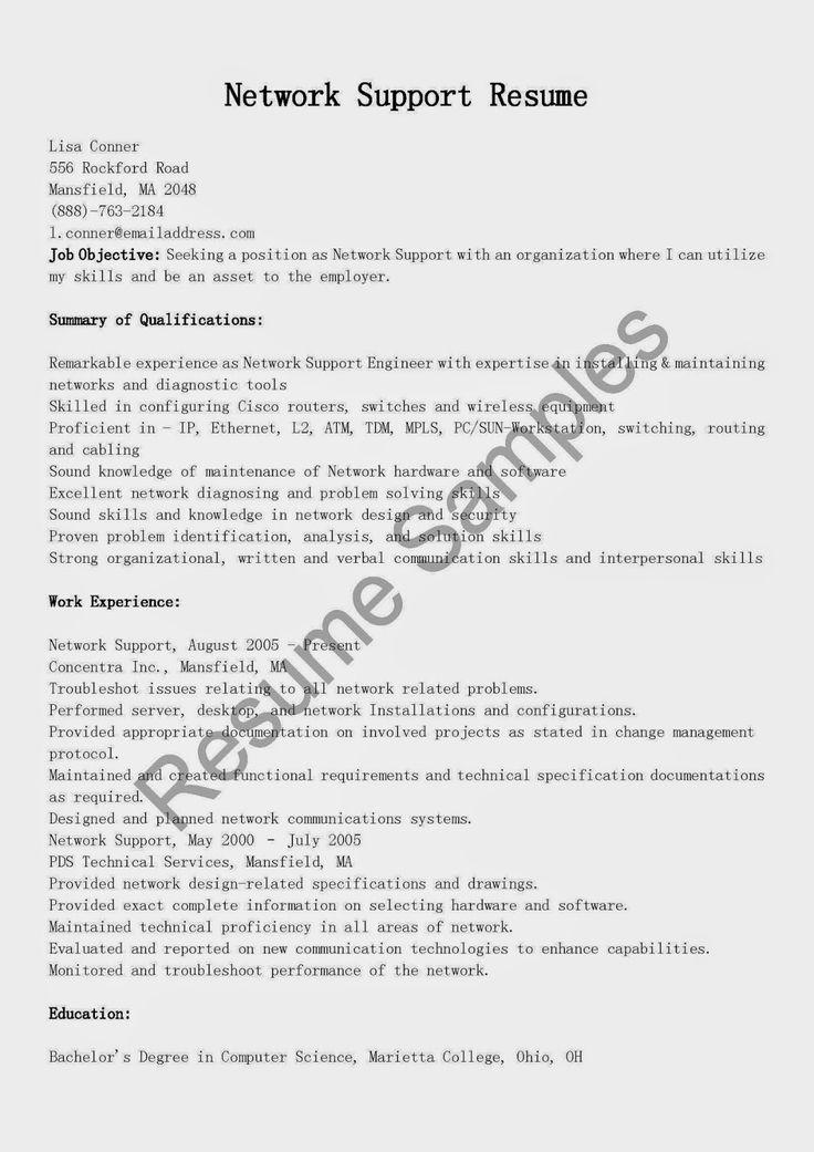 Network Support Resume Sample