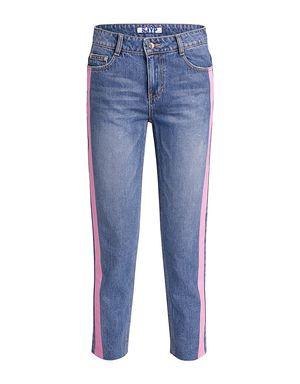 dd3bc82b1567c8 color painted trim straight-leg jeans by SJYP