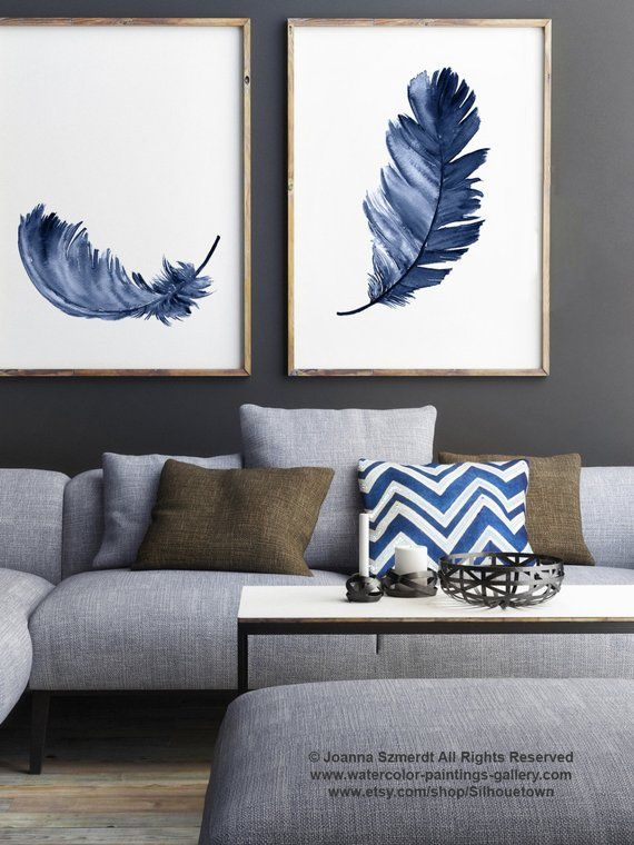 Royal Blue Feather Print Set 2 Canvas Feathers Watercolor Painting