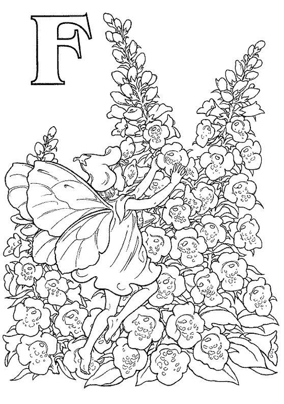 kleurplaat Alfabet Elfjes - Alfabet Elfjes F