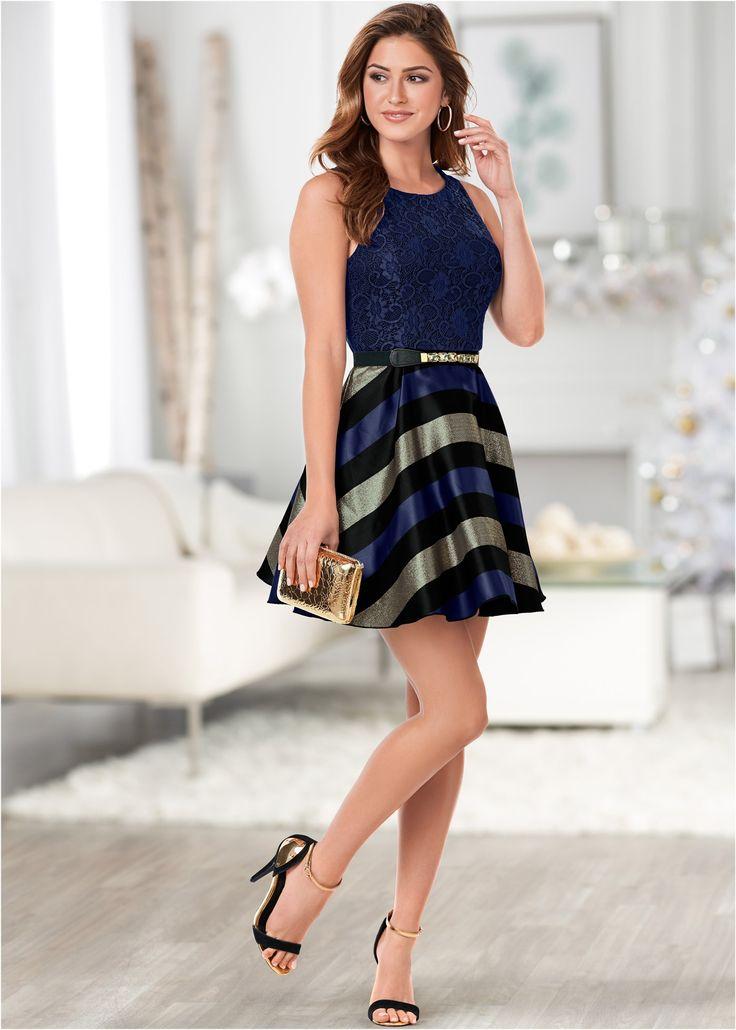 Cocktailkleid blau/gold gestreift - BODYFLIRT boutique jetzt im Online Shop von bonprix.de ab ? 44,99 bestellen. Elegant und raffiniert ? so präsentiert ...