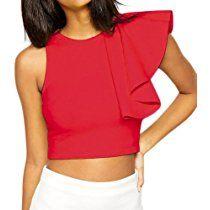 Shawhuwa Womens Sexy Asymmetric Ruffle Side Peplum Top Clubwear