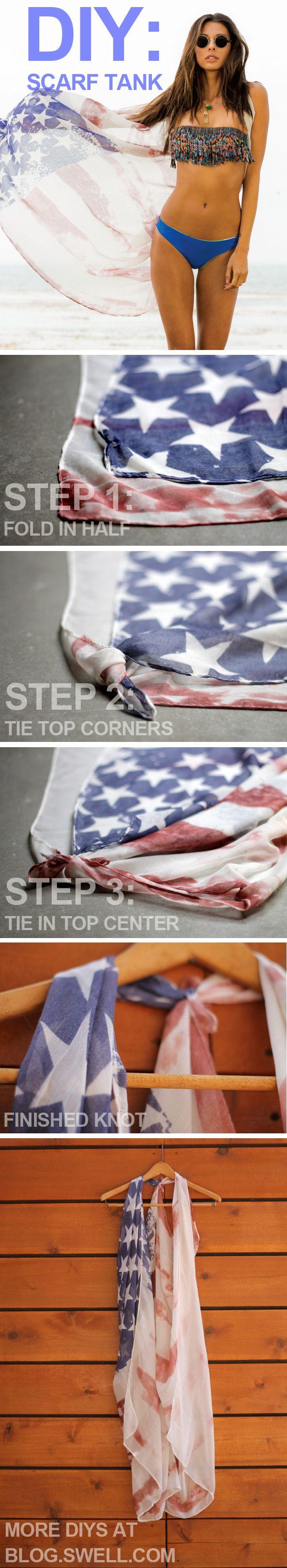 DIY: Tie a Scarf into a Racerback Cover-Up/Vest