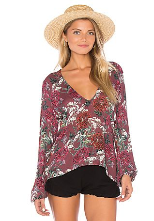 BEACH RIOT Sage Blouse in Maroon Floral | REVOLVE