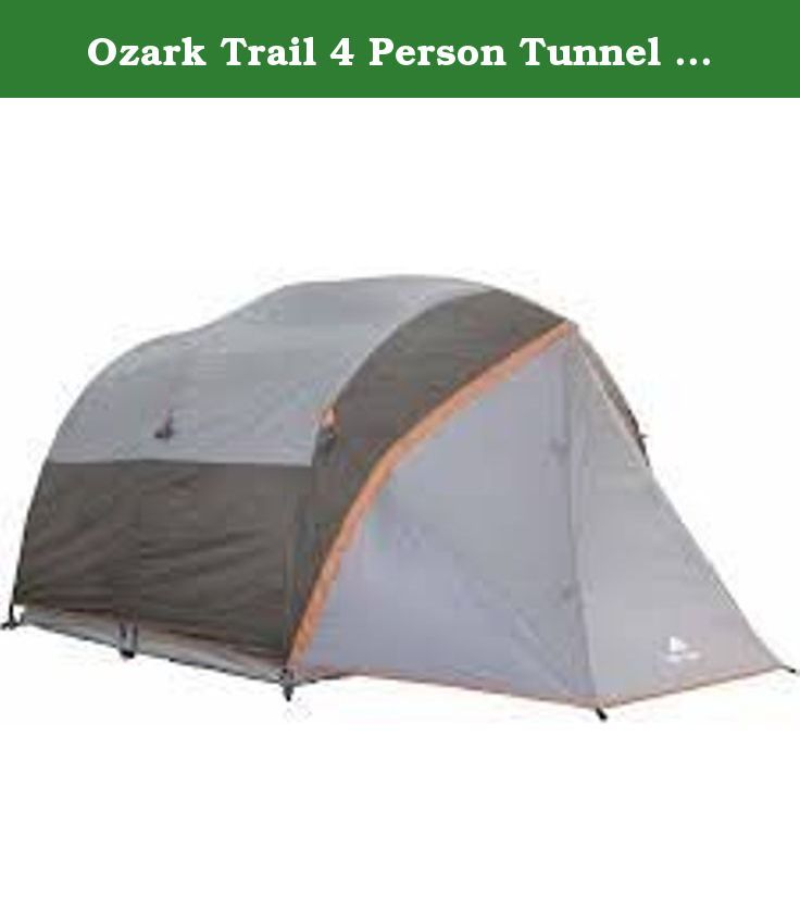 Ozark Trail 4 Person Tunnel Tent. This Ozark Trail Tent will sleep up to four comfortably. Ozark Trail Outdoor Equipment makes camping equipment that will diligently accompany you on even your most rugged adventures. From tents to camping showers, outdoor appliances to outdoor seating, camp cooking to brewing coffee hundreds of miles away from the nearest coffee machine; Ozark Trail Outdoor Equipment has you covered whether you're in the backyard or in the middle of the wilderness…