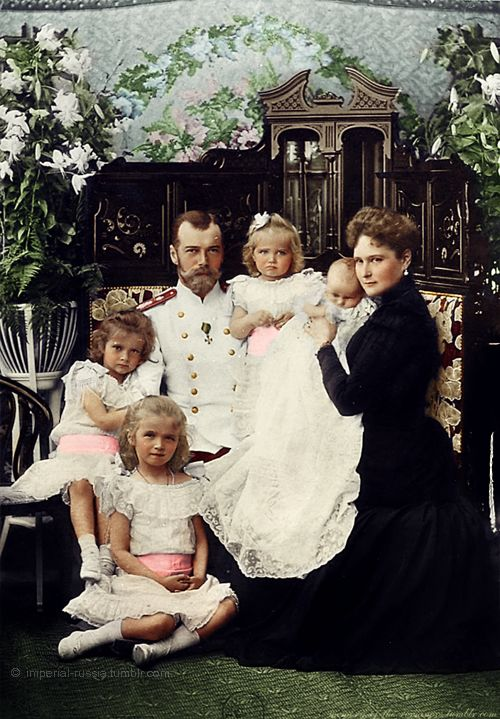 The last Imperial couple of Russia with four eldest children - all girls. Originally black and white image coloured