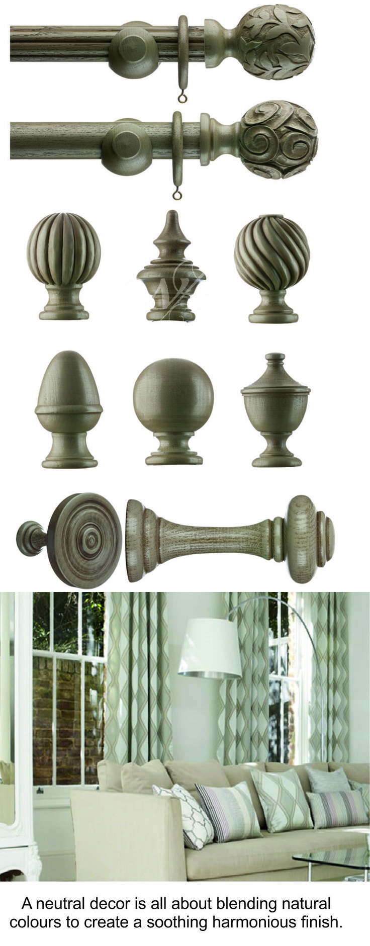 NEUTRAL WOODEN CURTAIN POLES. These fabulous wooden poles are available in various neutral colours, ideal for a natural decor. From £100 See more http://www.broughton-interiors.co.uk/collections/modern-wood-poles?page=3 #curtainpoles #interiordesign