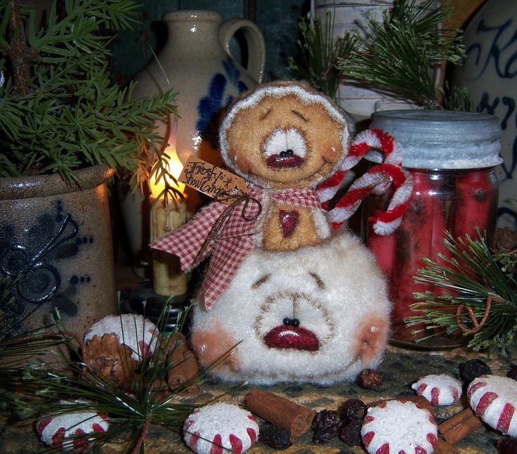 Primitive Patti's Ratties Doll Snowman Frosty Gingerbread Ornament Bear Artist