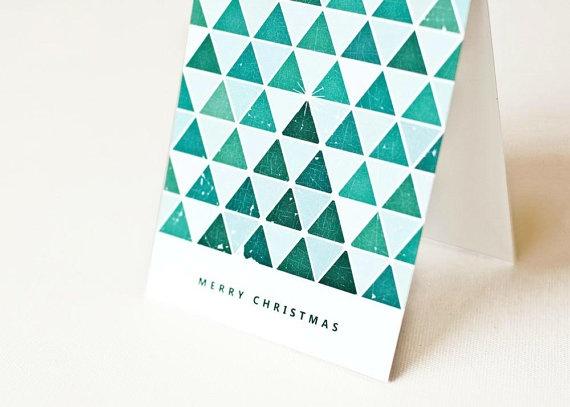 Christmas Card Geometric Card Holiday Card by PearentheticalPress, $4.00