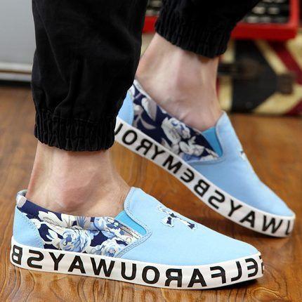 Men Canvas Shoes With Cross Design, Floral Print, Black, Blue, Gray