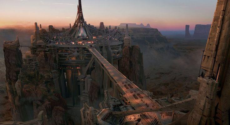 John Carter, Konzeptkunst, Stadt, Schlucht, Brücke, Felsen, die Höhe Vektorgrafik