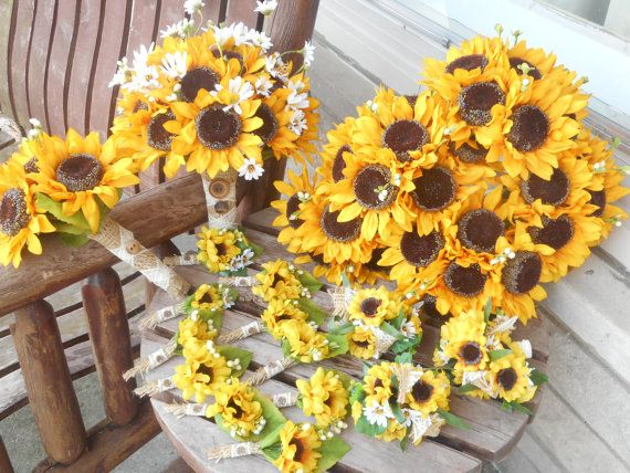 Sunflower Bridal Bouquet and Grooms Boutonniere or by mtfloral