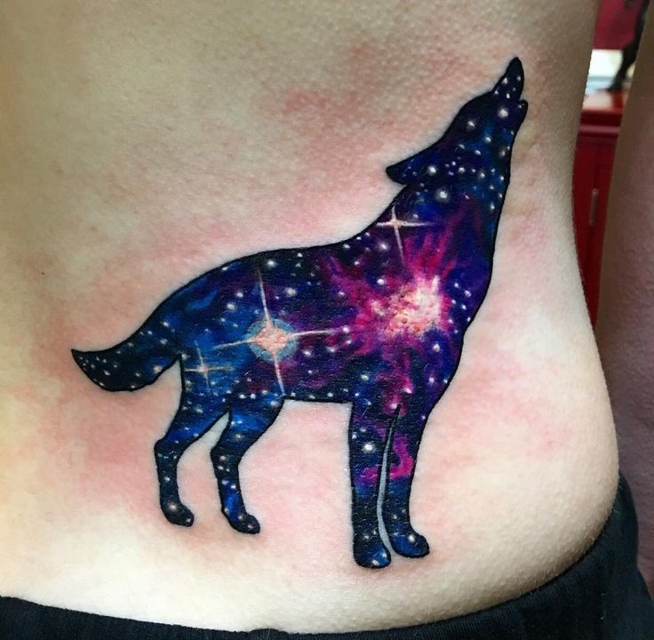 Galaxy wolf done by Nicky Arsenik at Red Octopus Tattoo in Crofton Md
