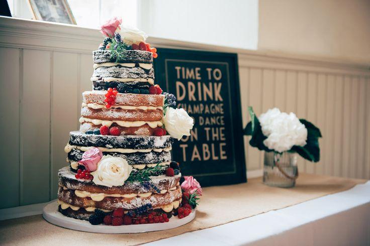 Homemade Chocolate & Sponge Naked Wedding Cake | DIY Village Hall Wedding | High Street Fashion | Budget Wedding | Anne Schwarz Photography | http://www.rockmywedding.co.uk/clare-chris/