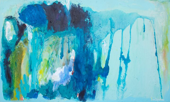 """""""Don't Forget to Write"""" by Claire Desjardins. 36""""x60"""" - Acrylics on canvas."""