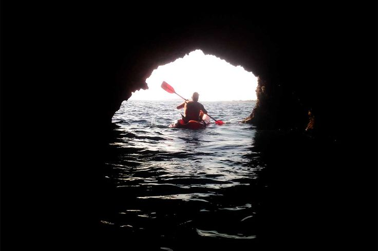 Kayaking in Saint Georgio caves, Antiparos, Cyclades, Greece