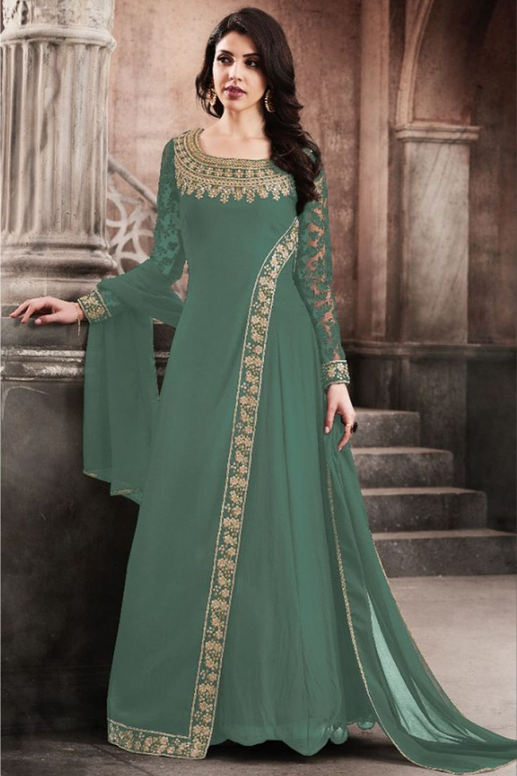 Sea Green Color Traditional Party Wear Look Stylish Georgette Fabric Embroidered Wedding Wear Ethnic Wear Fancy Designer Floor Length Gown Style Salwar Suit