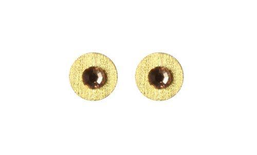 Ørestiks med swarovski krystaller - Til disse ørestiks skal du bruge følgende materialer:  1 par forgyldte ørestiks med børstet plade 4mm 2 stk. forgyldte mønter med hul i midten 10mm 2 stk. hotfix swarovski krystal, beige 5mm + lim