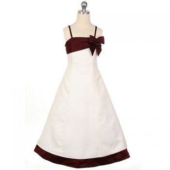 Sweet Kids Girls Ivory Burgundy Flower Girl Special Occasion Dress 4