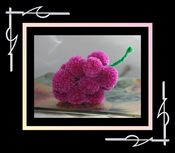 Sculptured Yarn (pompoms) magenta grapes. Available for purchase at thatissocool.ca