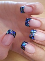 blue and black glitter french tips new years eve nail art