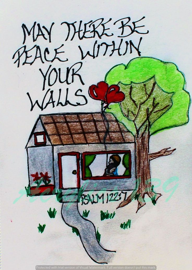"""""""May there be peace within your walls and security within the citadels."""" Psalm 122:7 (Scripture doodle of encouragement)"""