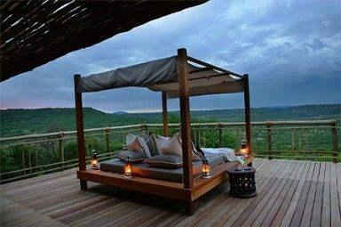Nambiti Hills Private Game Lodge - [Day bed - outside deck]  Kwazulu Natal - Africa