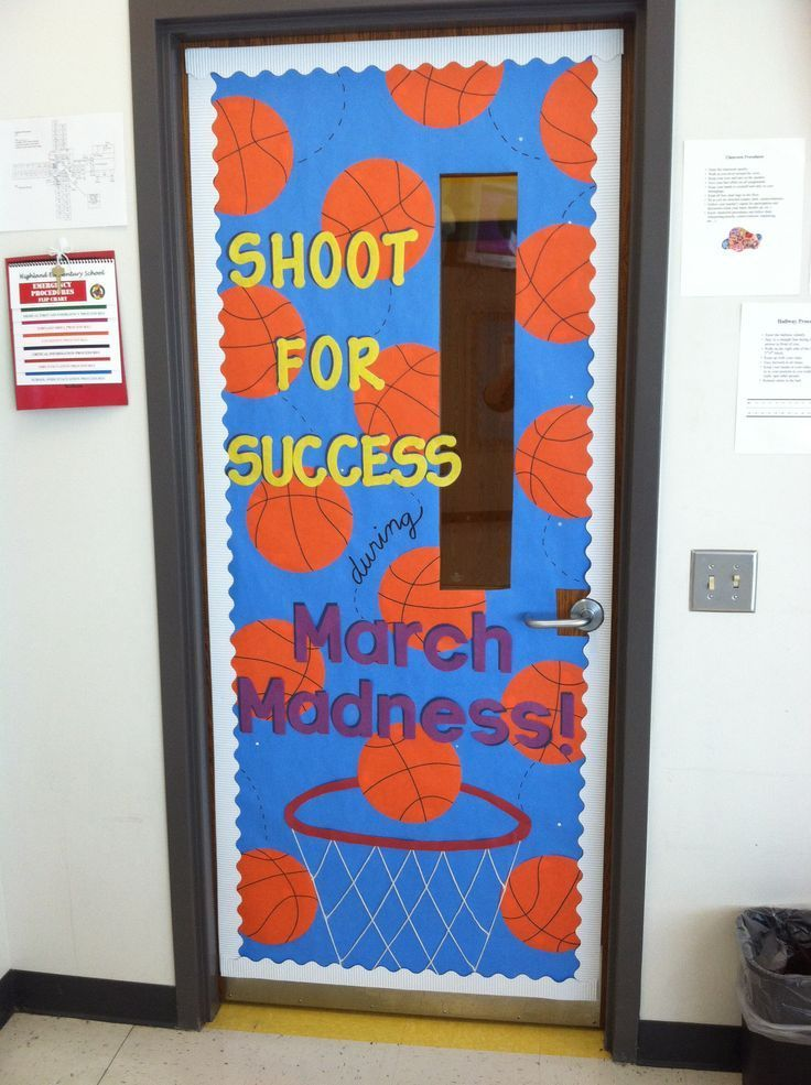 March Madness themed classroom door ... sports theme @katherinespahr1 this is beyond adorable! this should be on your classroom door ;) i think Forest would appreciate that! :))