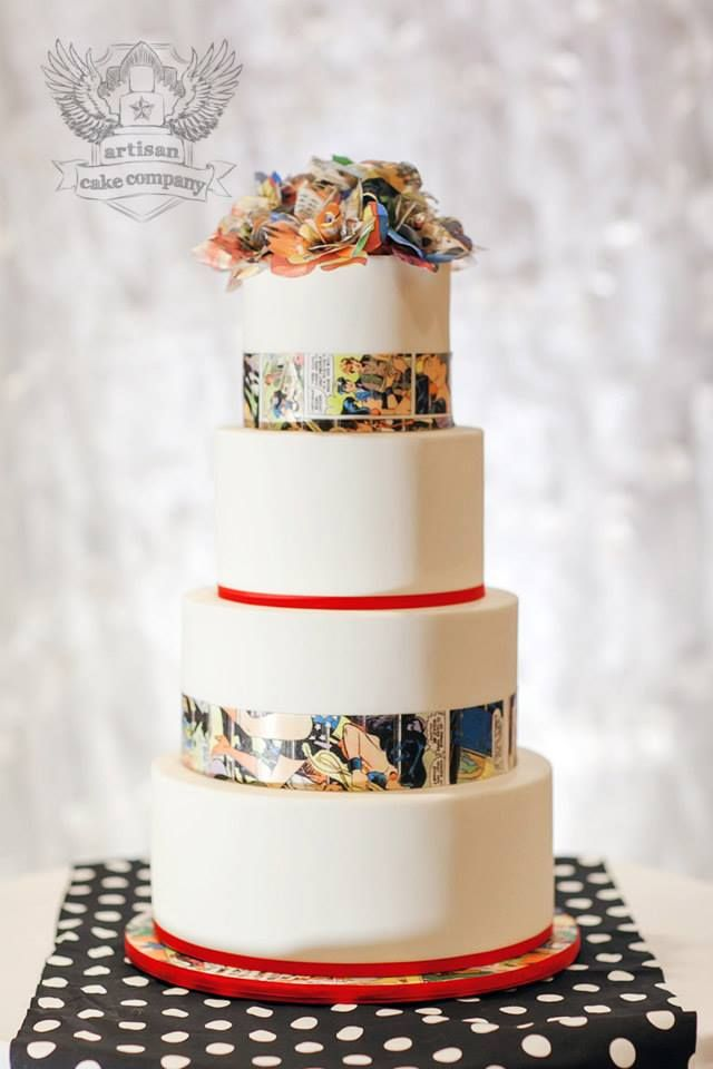 Use Top tier for cake on cupcake tower. Black and White comic paper instead and no floral topper.