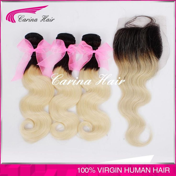 "Free Shipping Blonde Brazilian Hair With Closure Body Wave 1b/613 No Tangle No Shedding Dark Roots Blonde Hair 8""-30"""