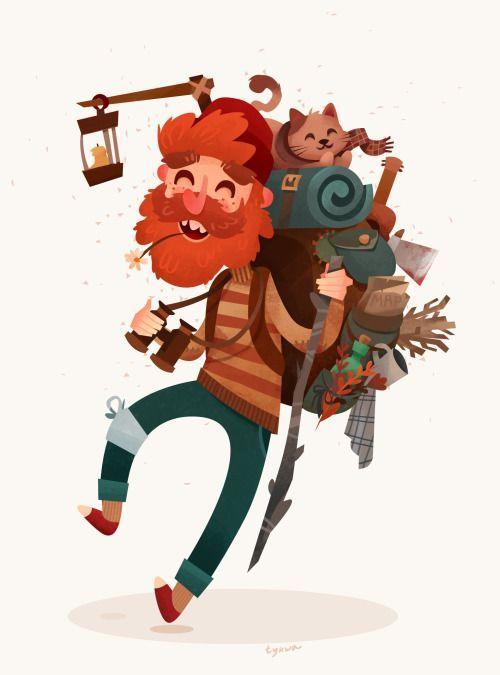 10b3eae8aaea backpacker cat art illustration travel traveller ginger boy