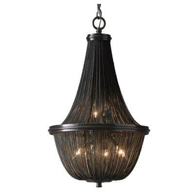 Lampa wisząca ROMA P04543BK  Reprezentacyjny żyrandol ROMA P04543BK w stylu vintage black glamour nadaje klasy każdemu wnętrzu.  Ta imponująca lampa o zamkniętej niezwykle atrakcyjnej formie obwieszona jest setkami drobnych łańcuszków. Bardzo ciekawy sposób ich upięcia w klasyczny kształt, a do tego czarna kolorystyka sprawiają, że ten model lampy wiszącej jest po prostu ponadczasowy.
