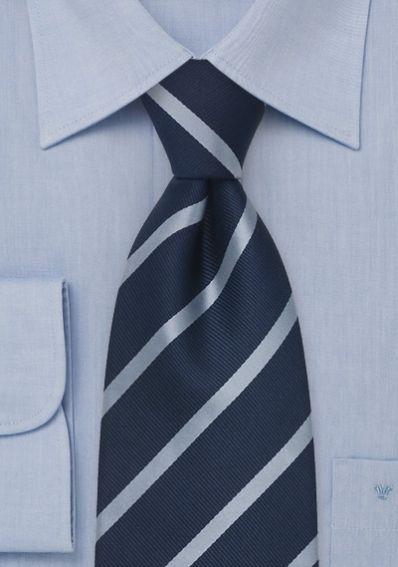 Krawatte Streifen hellblau navy