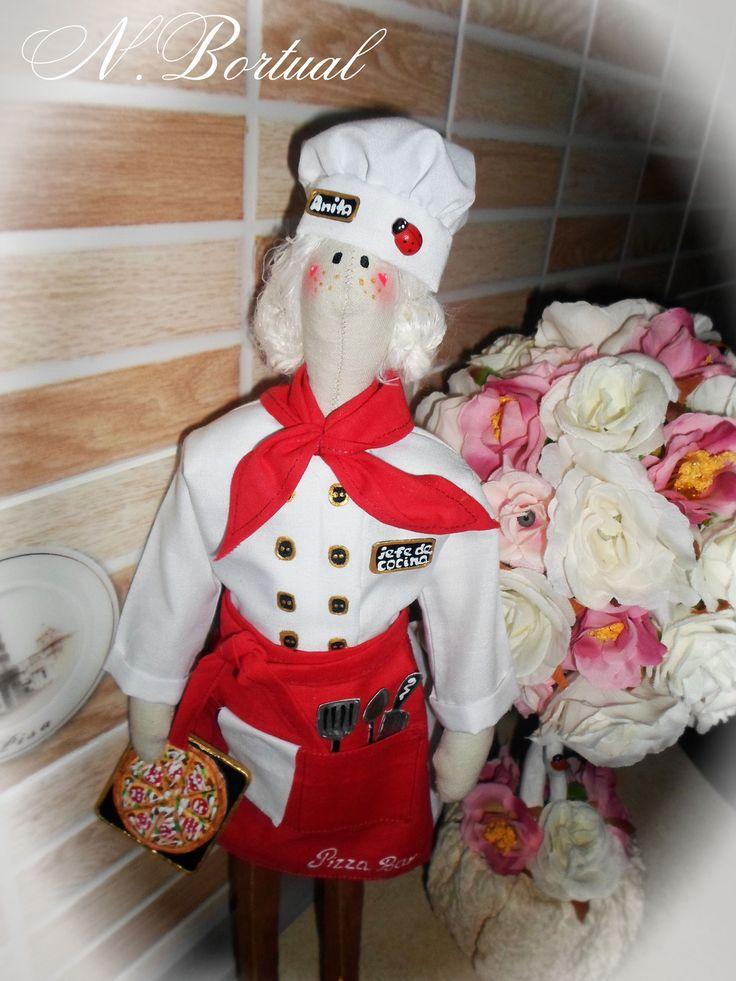 Une marionnette Tilda - est un cuisinier et appellent elle Anita : Jeux, jouets par la-pate-a-sel-et-les-poupees-de-tilda