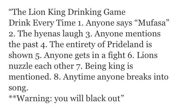 Lion king drinking game