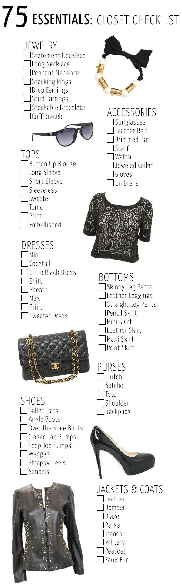 75 Essentials Closet Checklist, Visit www.corrimcfadden.com #StyleCheckList
