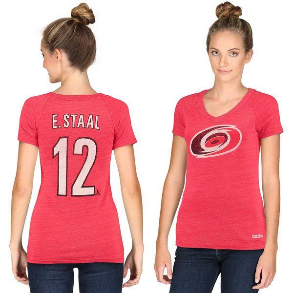 Women's CCM Eric Staal Carolina Hurricanes Name & Number Tri-Blend V-Neck T-Shirt - Red - $19.99
