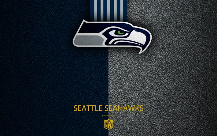 Download wallpapers Seattle Seahawks, 4k, american football, logo, leather texture, Seattle, Washington, USA, emblem, NFL, National Football League, Western Division