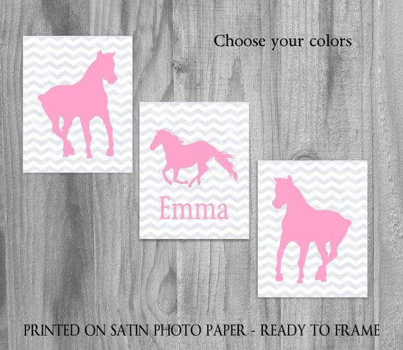 Horse+Art+Prints+Girls+Art+Set+CUSTOMIZED+by+PrintsbyChristine,+$32.00