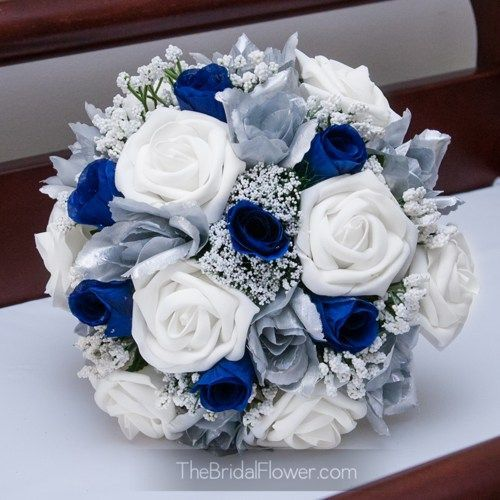 Royal blue and silver silk wedding bouquet, horizon blue bridal   TheBridalFlower - Wedding on ArtFire