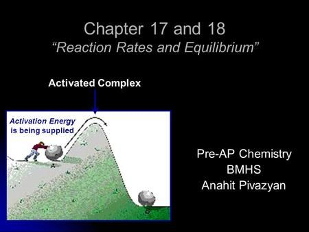 Chapter 17 and 18 Reaction Rates and Equilibrium Pre-AP Chemistry BMHS Anahit Pivazyan Activation Energy is being supplied Activated Complex.
