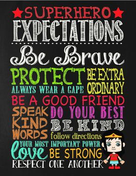 Super Hero Chalkboard Theme Classroom ExpectationsThis fun poster is perfect for any classroom. Love this idea for schools using the leader program. Goes great with my other chalkboard and super hero themed designs. The bright colors also lets you match it to your current decor.