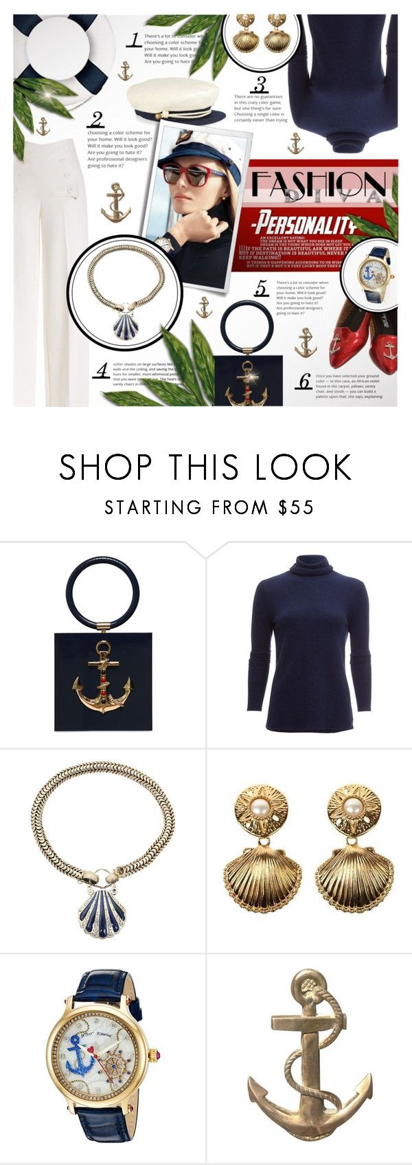 """""""Nautical classic"""" by kseniz13 ❤ liked on Polyvore featuring Derek Lam, Charlotte Olympia, Ralph Lauren, White + Warren, Kenneth Jay Lane, Betsey Johnson, classic, Nautical, anchors and women"""