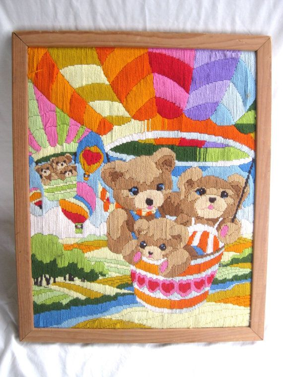 LARGE crewel 1980s yarn wall hanging - vintage, framed, perfect for a baby's room or toddler's room! wood frame, teddy bears, embroidery